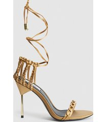 reiss zhane chain - satin strappy wrap sandals in caramel, womens, size 10