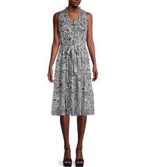 tommy hilfiger women's mulan paisley self-tie dress - sky captain - size 4