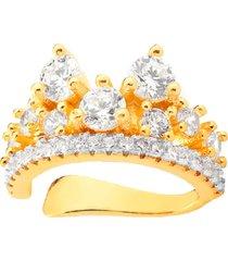 brinco piercing lady cristais banhado a ouro 18k - dourado - feminino - dafiti