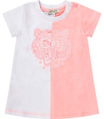 kenzo kids white and pink babygirl dress with iconic tiger