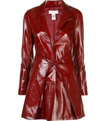 fleur du mal patent wrap dress - red
