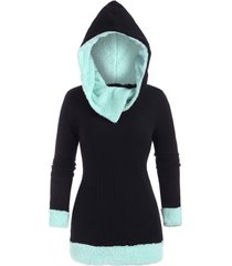 faux fur insert ribbed pullover hoodie