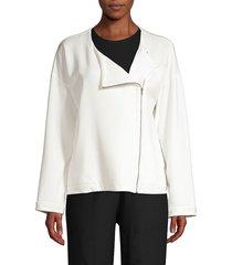 eileen fisher women's roundneck zip jacket - ivory - size xl