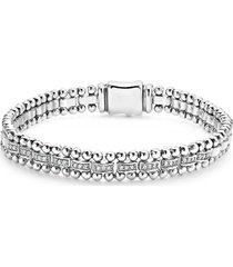 lagos caviar spark diamond link bracelet, size large in silver/diamond at nordstrom