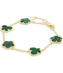 jan-kou women's flower & butterfly 14k goldplated & synthetic emerald bracelet