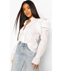 extreme puff shoulder shirt, white