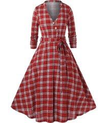 plus size plaid pattern long sleeve dress