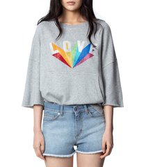 women's zadig & voltaire kaly lobe rainbow love sweatshirt