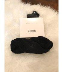chanel black velvet headband with box