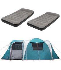 barraca camping nautika arizona gt 9/10 pessoas + 2 colchões solteiro inflável star twin