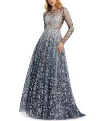 mac duggal metallic floral illusion gown