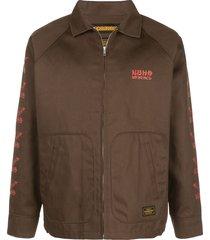neighborhood batwings print jacket - brown