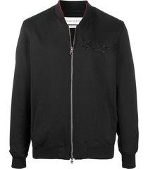 alexander mcqueen embroidered-logo bomber jacket - black