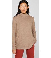 sweater oversize con textura de canalé taupe esprit
