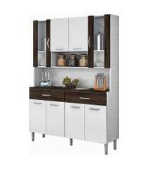 kit cozinha compacta armário golden 08 portas branco/white/petróleo - kit's paraná