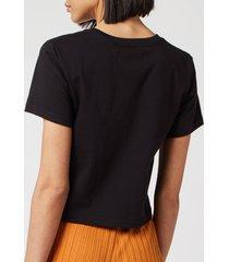 simon miller women's rondo t-shirt - white/black embroidery - l