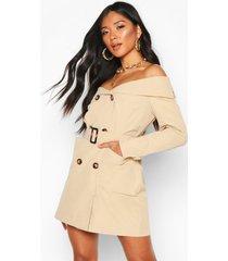 woven trench coat blazer dress, stone