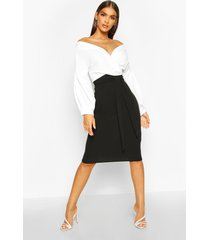 contrast off shoulder wrap midi dress, black