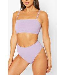 petite high waist crinkle bikini bottom, lilac