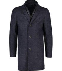 portofino jas halflang donkerblauw geruit