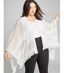 lane bryant women's open-stitch wrap poncho onesz white