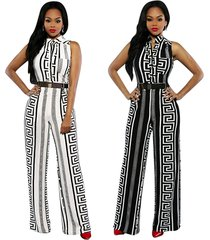women black white sleeveless stripe print wide leg pant long jumpsuit with belt