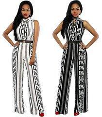 women black white sleeveless stripe print wide leg pant long jumpsuit with belt