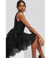 trendyol ruffle detail midi dress - black