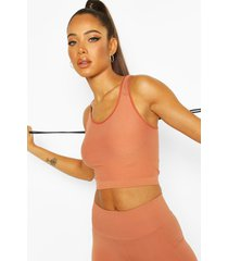 fit rib and laser cut seam free tank top, peach