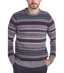 men's barbour case fair isle wool crewneck sweater, size small - grey