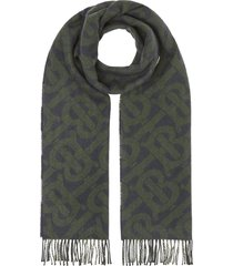 burberry reversible monogram checked scarf - blue