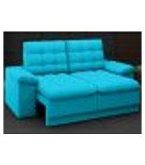 sofá confort 1,80m assento retrátil e reclinável velosuede turquesa - netsofas