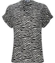 blusa cuello neru estampado animal print color negro, talla 6