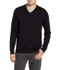 men's big & tall nordstrom men's shop cotton & cashmere v-neck sweater, size lt - black