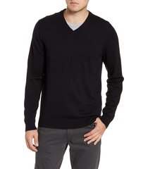 men's big & tall nordstrom men's shop cotton & cashmere v-neck sweater, size 4x-large - black