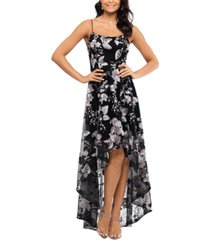 xscape embroidered high-low gown