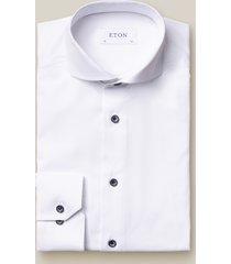 eton overhemd twill navy knopen cutaway slim fit
