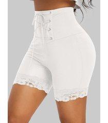high rise lace up short leggings