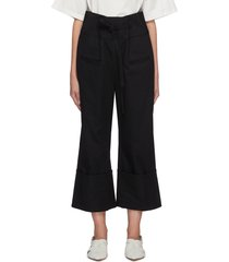 belted turn up cuff flare pants