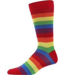 memoi rainbow stripe women's crew socks