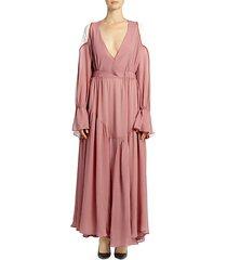 poet sleeve colorblock maxi dress
