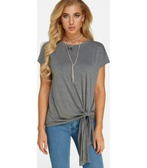grey lace-up design round neck short sleeves pleated t-shirt
