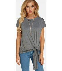 gris con cordones diseño redondo cuello camiseta plisada de manga corta