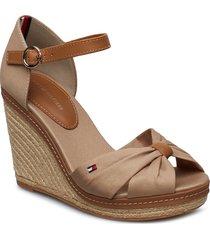 iconic elena sandal sandalette med klack espadrilles beige tommy hilfiger