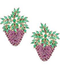 eye candy la women's luxe crystal strawberry stud earrings