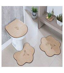 kit tapete banheiro formato 3 peças antiderrapante beija flor bege