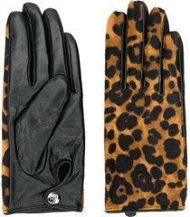 karl lagerfeld leopard-print gloves - black