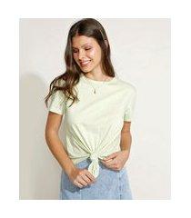 camiseta de algodão básica com nó manga curta decote redondo verde claro
