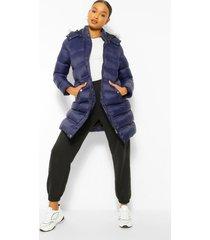 lange gewatteerde faux fur jas met capuchon, navy