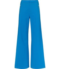 area rhinestone stripe wide leg trousers - blue